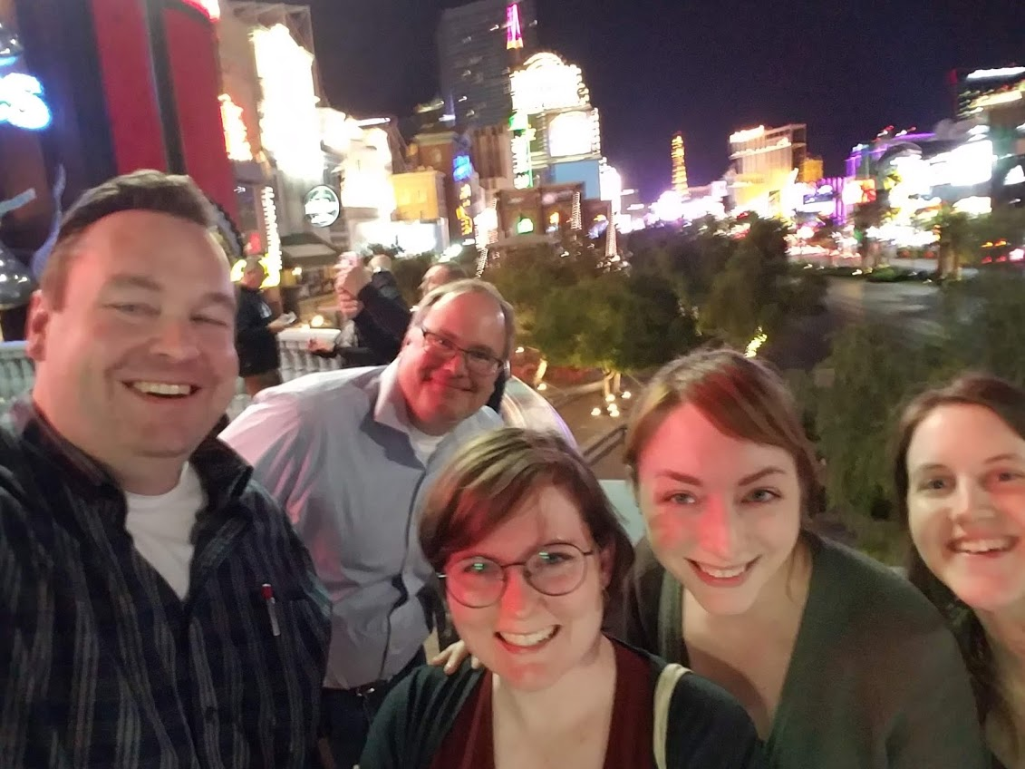 Ryan Steans (Avalon), Aaron Choate (Univ. of Texas), Ashley Blewer (Artefactual), Bethany Scott & Anne Washington (Univ. of Houston) walk The Strip in Vegas